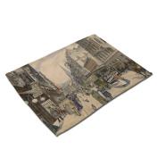 GT Placemat, European, Street view, Cotton and linen, Printing, Western mats, Rectangular, Non-slip mat, Heat-resistant, waterproof mats, Kitchen, Tableware mats,