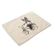 GT Placemat, Cartoon, Animal, Cotton and linen, Printing, Western mats, Rectangular, Non-slip mat, Heat-resistant, waterproof mats, Kitchen, Tableware mats,