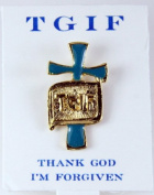 TGIF Thank God I'm Forgiven Lapel Pin Tie Tack Brooch Christian Jewellery