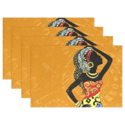 MyDaily African Woman Placemats for Dining Table Set of 6 Heat Resistant Washable Polyester Kitchen Table Mats