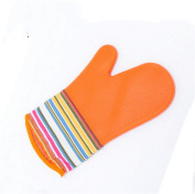 QXWL Silicone Oven Gloves, Heat Resistant to 572 °F Resistant Premium Silicone Kitchen and BBQ Gloves, Long Cuffs Waterproof Kitchen Mitts with Cotton Quilted Gloves for Cooking, Baking, Single