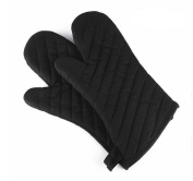 QXWL Oven glove microwave insulated gloves thickened high temperature baking non-slip oven gloves cotton cloth black single
