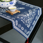 Table runner/cotton pendant,blue printing-table runner/ table cloth/ table cloth/ table cloth/bed runner-A 34x190cm