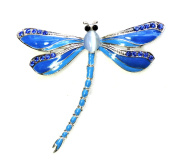 Faship Gorgeous Sapphire Colour Blue Crystal Big Dragonfly Pin Brooch