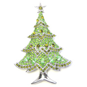 Faship Gorgeous Peridot Colour Green Crystal Christmas Tree Pin Brooch