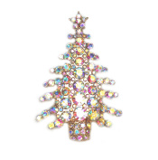 Faship Christmas Tree Pin Brooch Gorgeous AB Crystal Gold Metal