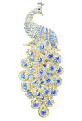 Faship Peacock Pin Brooch Stunning Sapphire Colour Blue