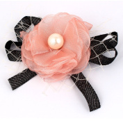Party Faux Pearl Chiffon Flower Lace Ribbon Decor Corsage Brooch Pin Black Pink