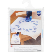 Blue Butterflies Table Runner Stamped Embroidery Kit, 41cm x 100cm