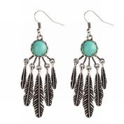 Tassel Boho Earrings Vintage Turquoise Leaf Earrings Exaggerated Ethnic ear Studs , gold