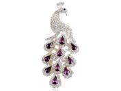 Gorgeous Purple Crystal Rhinestone Peacock Bird Fashion Jewellery Pin Brooch