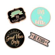 PinMart's Good Vibes Motivational Inspirational Be Kind Enamel Lapel Pin Set