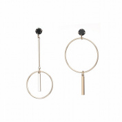 Simple Exaggerated Geometry Circle Earrings All Match Asymmetric Zirconium Metal ear Studs , gold