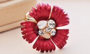 Brooch High-Grade Shawl Scarves for Women Accessories Avant-Garde Fashion Rose Ring Three-Ring Scarf Buckle , red