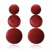 Multi-Layered Ring Velvet Earrings Fashion long Earrings for Women Earrings , red