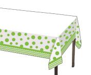 Party Creations Chevron & Polka Dots Plastic Tablecover, 140cm x 260cm , Fresh Lime, 1 Ct