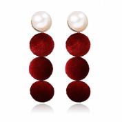 Fashion Popular Earrings Velvet Multi-Layer long Paragraph Street Ring Earrings for Women Jewellery , red