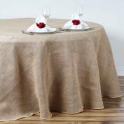 Efavormart Fine Rustic Burlap Tablecloth Round 230cm Natural Tone