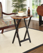 Serpentine Folding Tray Tables with Stand, Set of 4, Black and Hazelnut