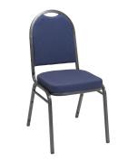 KFI Seating IM520 Armless Stacking chair - Blue Pindot Fabric - Silver Frame - 5.1cm seat