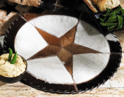 Round Cowhide Western Placemat - 41cm - Rustic Dining Decor