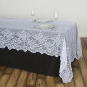 Efavormart Floral Lace Rectangle Tablecloth 150cm x 320cm - White