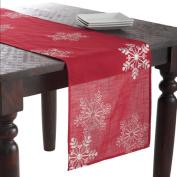 Saro Snowflake Table Runner