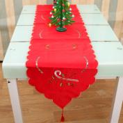 Christmas Table Runner Santa Claus Bell Candle Crutch Table Runner Cover Xmas Decor 170cm x 40cm