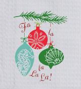Fa La La Coastal Holiday Ornaments Embroidered Waffle Kitchen Dish Towel Kay Dee