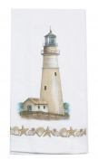 Coastal Lighthouse with Seashell Border Flour Sack Kitchen Dish Towel