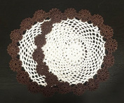 Fennco Styles Handmade Two Tone Floral Crochet Tray Cloth Doily, 23cm Round, 2 Pieces, 7 Colours