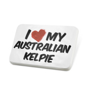 Porcelein Pin I Love my Australian Kelpie Dog from Australia Lapel Badge – NEONBLOND