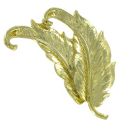 Gold Tone Feather Pin Brooch by Danecraft