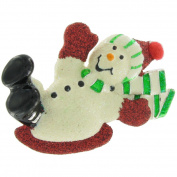 Danecraft Enamel Snowman Pin Brooch Sledding Festive Christmas