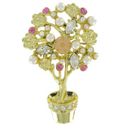 Danecraft Floral Potted Plant Tree Gold Tone Pink Rhinestone Faux Pearl Pin Brooch
