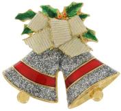 """Silver Bells"" Christmas Silver Tone Glitter Holly Pin Brooch"