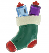 Danecraft Rhinestone Stocking Christmas Present Enamel Pin Brooch