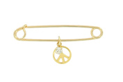 Ky & Co Gold Tone Rhinestone Peace Sign Dangle Charm 5.1cm Safety Pin Brooch USA