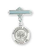 Guardian Angel Round Sterling Silver Medal on a Bar Pin