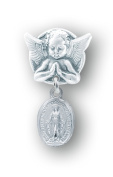 Sterling Silver Oval Miraculous Baby Medal on an Angel Pin