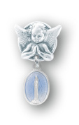 Blue Enamelled Oval Sterling Silver Baby Miraculous Baby Medal on an Angel Pin
