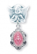 Pink Enamelled Miraculous Baby Medal on an Angel Pin