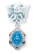 Blue Enamelled Oval Fancy Edge Miraculous Baby Medal on an Angel Pin