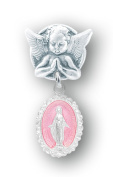Pink Enamelled Baby Miraculous Baby Medal on an Angel Pin
