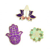 PinMart's Namaste Yoga Hand of Fatima Succulent Enamel Lapel Pin Set