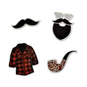 PinMart's Hipster Moustache Beard Flannel & Pipe Enamel Lapel Pin Set