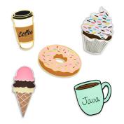 PinMart's Sweet Tooth Dessert and Coffee Enamel Lapel Pin Set