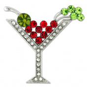PinMart's Rhinestone Multicoloured Martini Glass Christmas Holiday Brooch