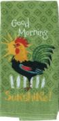 Good Morning Sunshine Rooster Green Kitchen Print Dish Towel