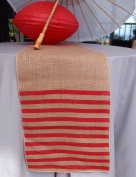 Quasimoon Vintage Burlap Table Runner w/ Red Striped Pattern (12 x 108) by PaperLanternStore